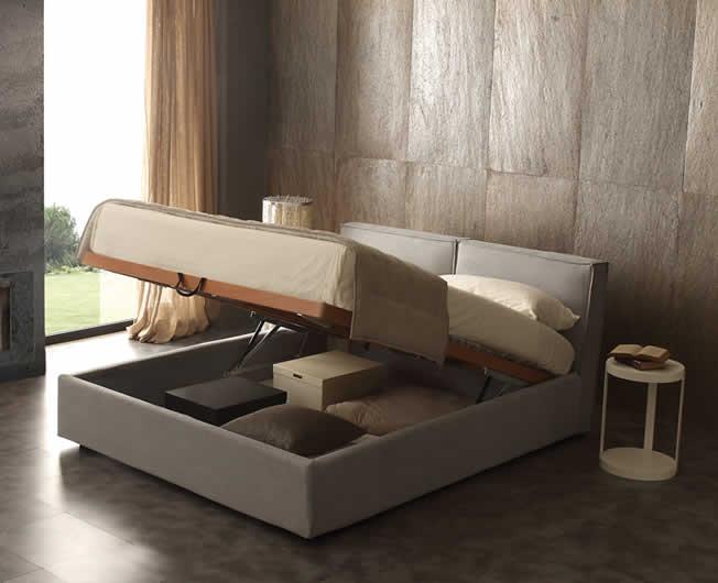 Cube - Letto contenitore in pelle con cassone salva-spazio e rete a ...
