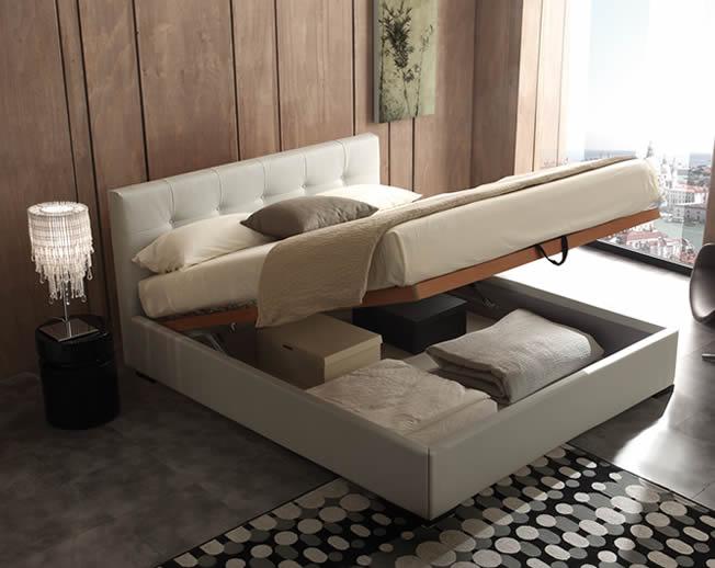 letto contenitore inside in pelle con vano cassone salvaspazio e rete a doghe. Black Bedroom Furniture Sets. Home Design Ideas