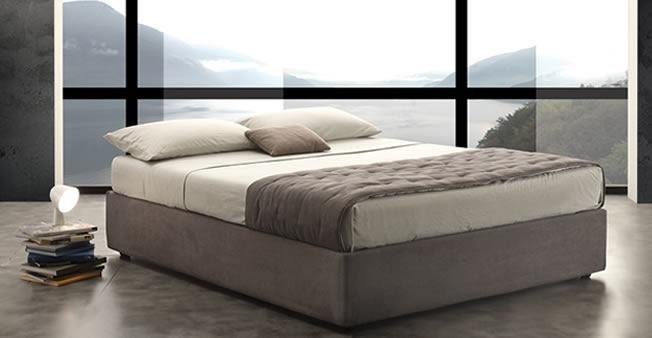 Letto contenitore easy in tessuto con vano cassone e rete a doghe - Rete per letto contenitore ...